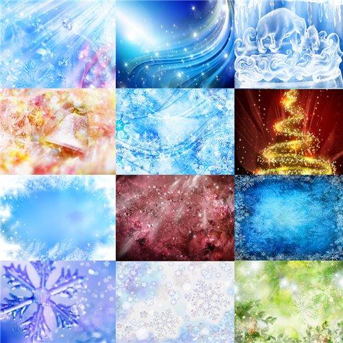 Набор качественных красочных фонов на зимнюю тему