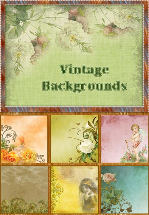 Винтажные фоны с цветами и детьми