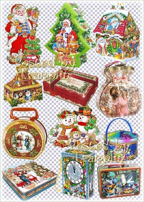 Новогодние подарки, упаковки - Клипарт