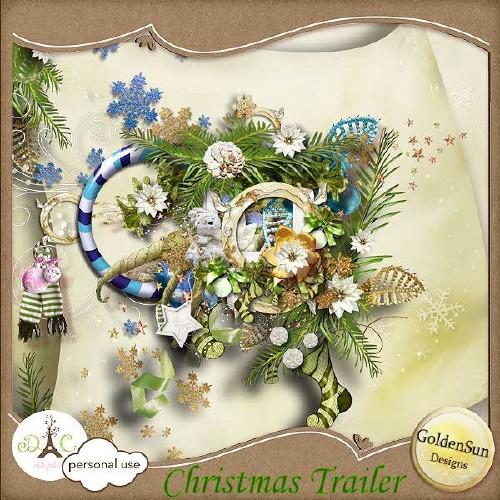 Рождественский скрап-набор - Рождественская повозка