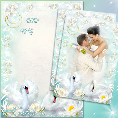 Свадебная рамка для фотошопа - Нежные белые лебеди