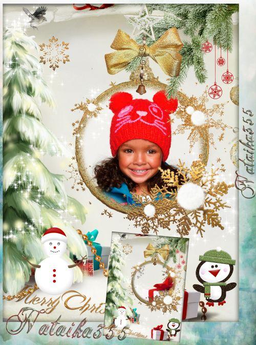 Рамка для фото - На елке новогодней игрушка блестит