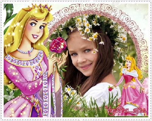 Рамка для фотошопа - В цветочном саду у принцессы