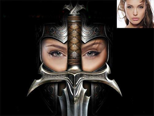 Женский шаблон - девушка воин с мечем