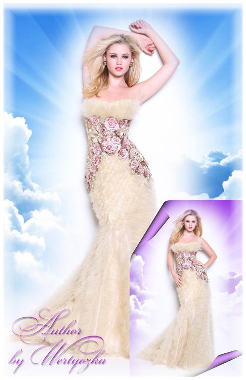 Очаровательная блондинка в роскошном вечернем платье - Шаблоны для фотошопа