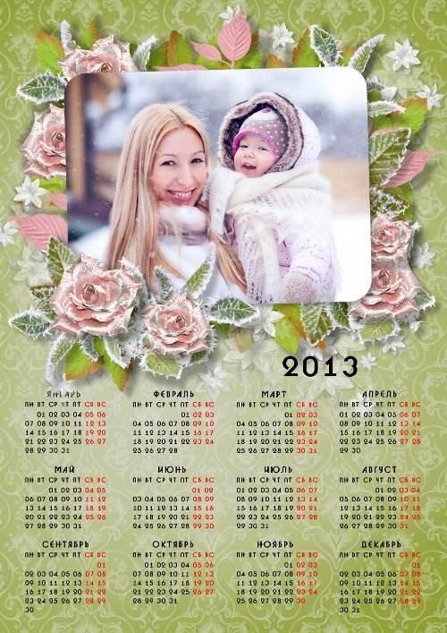 Календарь на 2013 год - Ледяные розы