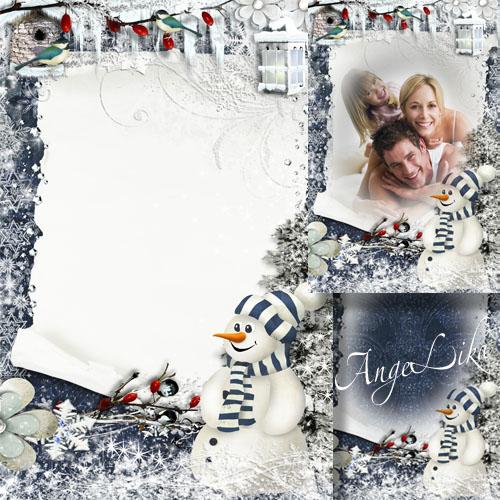 Зимняя праздничная фоторамка - Новогоднее поздравление снеговика