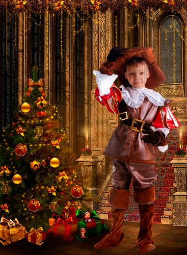 Шаблон для фотошопа - Мальчик в костюме мушкетера