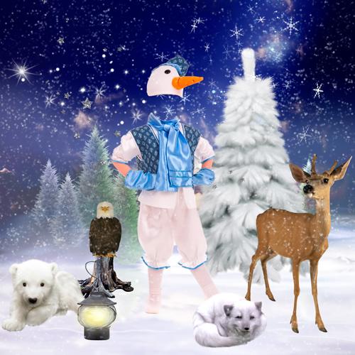 Шаблон для фотошопа - Веселый Снеговичок