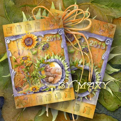 Календарь 2013 для фото с полевыми цветами и подсолнухами - Акварель