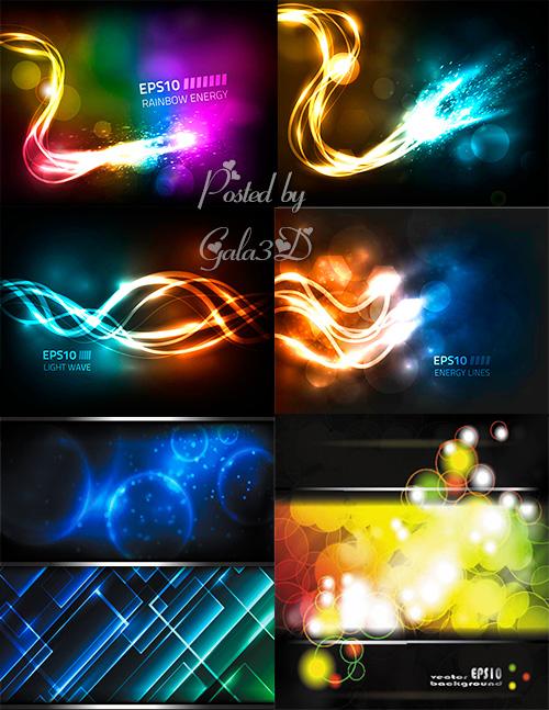 Векторные цветные и блестящие фоны