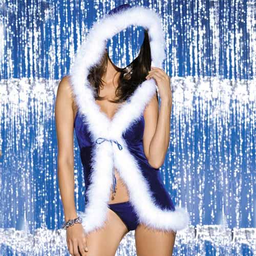 Шаблон для фотошопа - синий костюм для девушки