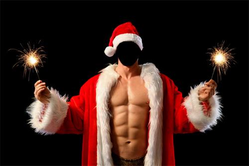 Шаблон psd - парень в новогоднем костюме