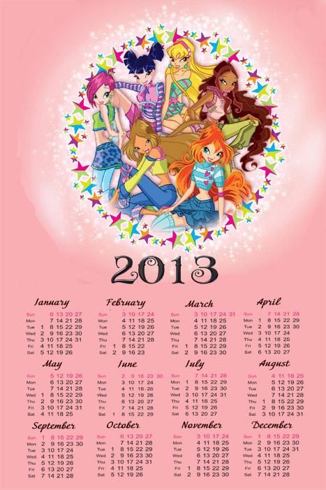 Календарь на 2013 год -  Команда Винкс