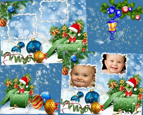 Зимняя рамка для фотошопа – Счастье в Новом году