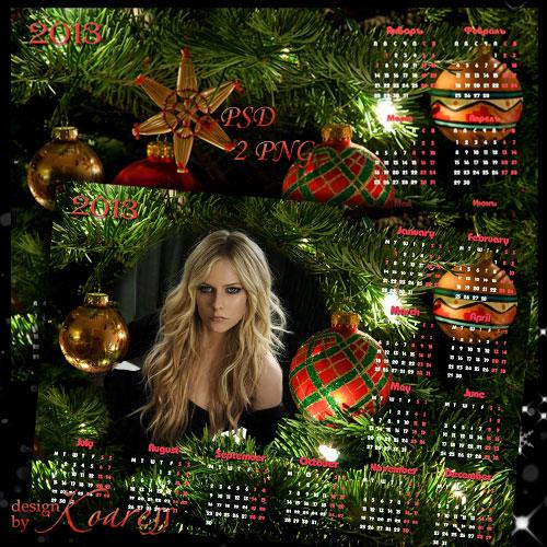 Календарь на 2013 год для фотошопа с вырезом для фото - Новогодняя елка