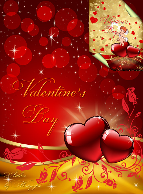 PSD Исходники на день Святого Валентина - Сердечки, валентинки, розы, любов ...