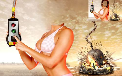 Шаблон для фотошопа - девушка с пультом
