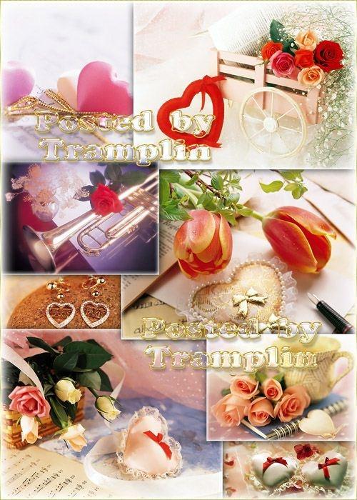 Фоны ко дню Святого Валентина с сердечками и цветами
