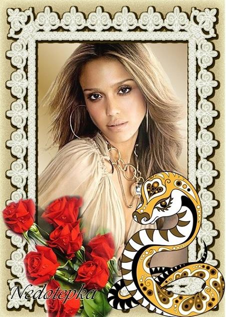 Женская рамочка - Красные розы