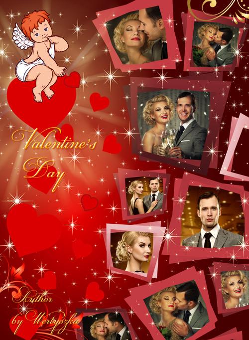Рамка для фотошопа - Ангелочек купидон, сердечка, день святого валентина