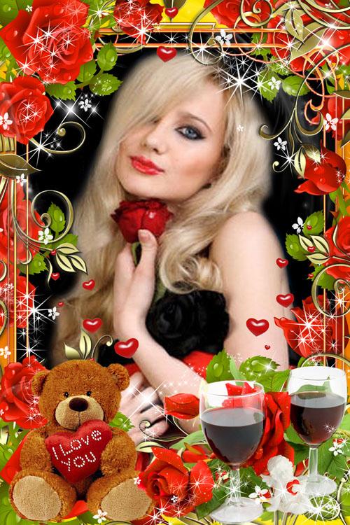 Романтическая рамка для фото с медвежонком и красными розами