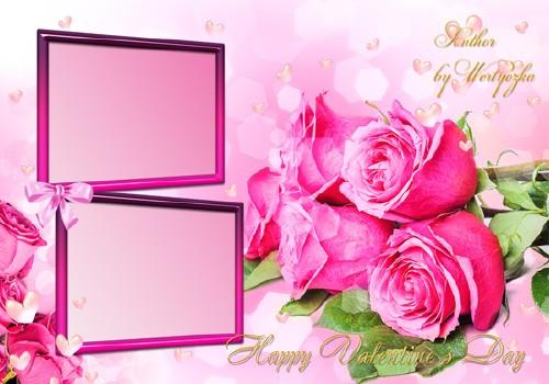 Розовые розы в день святого валентина - Рамка для фотошопа