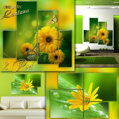 Полиптихи в PSD - Желтые цветы на зеленом фоне
