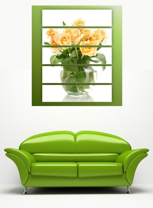 Полиптих в psd формате - Чайные розы в вазе