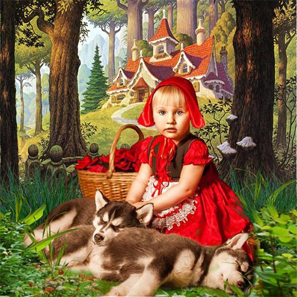 Шаблон  детский - Красная шапочка
