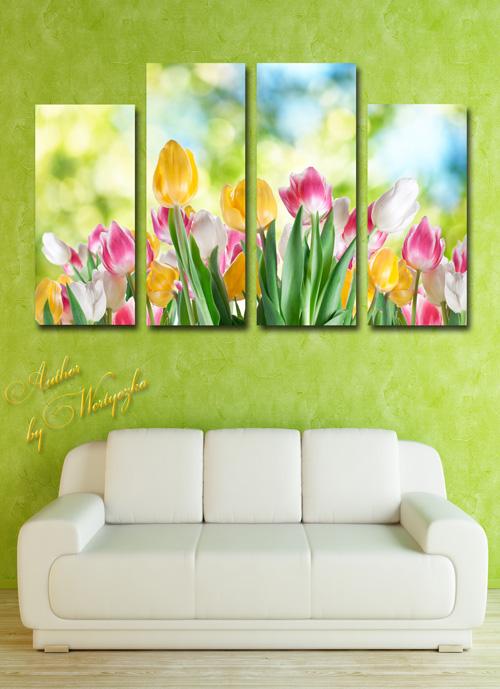 Полиптих в psd формате - Тюльпаны, роскошное цветение тюльпанов