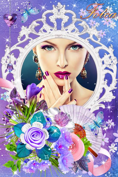 Цветочная рамка для фото - На лепестках цветов написано посланье