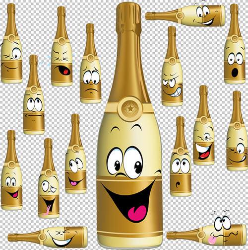 Клипарт -  Шампанское  с выражением эмоций (прозрачный фон)