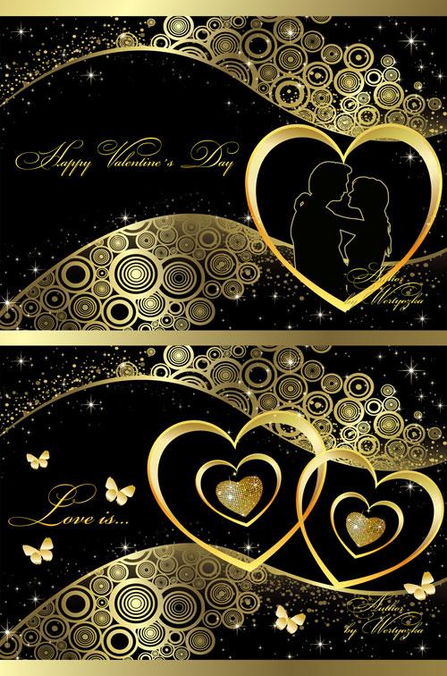 PSD исходники + рамка в золотом оформлении - Любовь, романтика, валентинка, ...