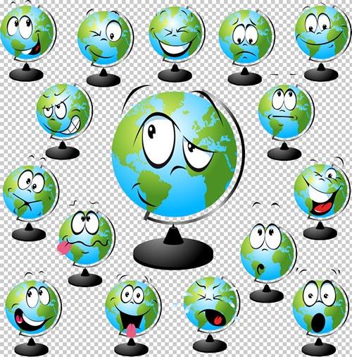 Клипарт -  Глобусы  с выражением эмоций (прозрачный фон)