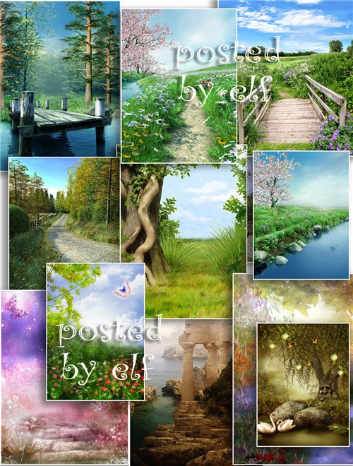 Набор фонов для коллажей - Замечательные пейзажи