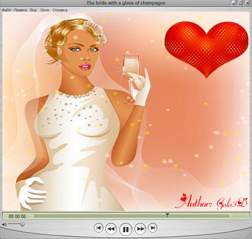 Футаж - Невеста с бокалом шампанского