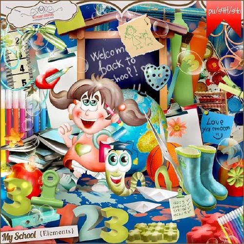 Детский школьный скрап-набор - Моя школа