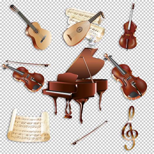 Клипарт -  Музыкальные инструменты и ноты прозрачный фон