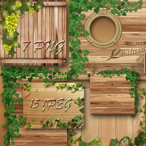 Деревянные текстуры и фоны c зеленым плющом