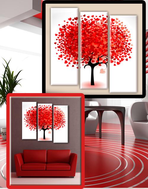 Дерево любви, дерево из красных сердечек - Триптих в psd формате