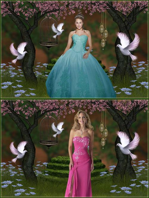 Женский шаблон - Девушки в сказочном саду