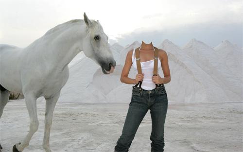 Шаблон для девушек - лошадь и девушка