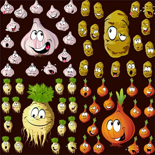 Клипарт - Овощи чеснок лук редька картофель с выражениями эмоций прозрачный фон