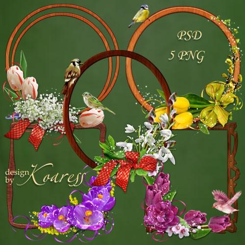 Деревянные рамки-вырезы с цветочными уголками и птицами - Весеннее настроен ...