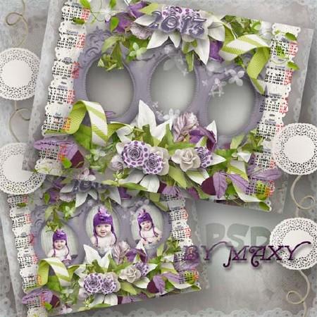 Календарь на 2013 год с тремя вырезами - Сиреневое трио