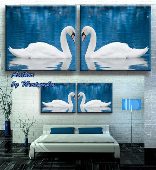 Psd исходник диптих, модульная картина - Белые лебеди, пара белых лебедей