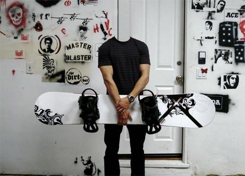 Шаблон для фотомонтажа - фото с сноубордом в руках