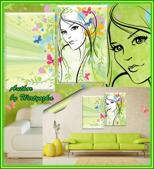 Диптих в psd формате, модульная картина - Девушка весна, бабочки, цветы