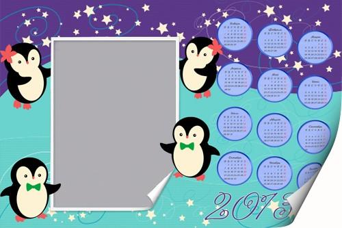 Детский календарь-рамка - Веселые пингвины